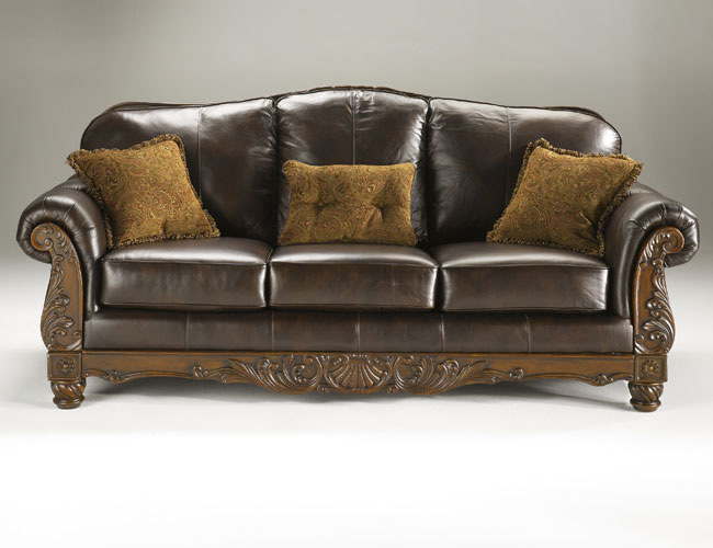 luxurious brown leather sofa with carved wood frame ebay