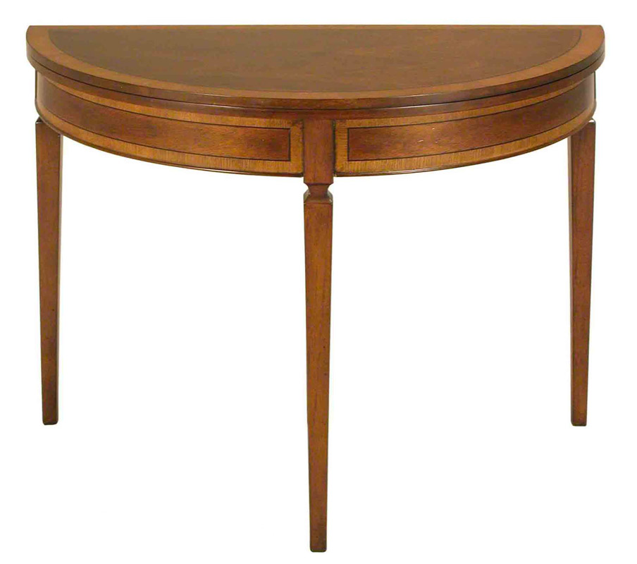 mahogany demilune and round folding top sofa console foyer accent table ebay. Black Bedroom Furniture Sets. Home Design Ideas