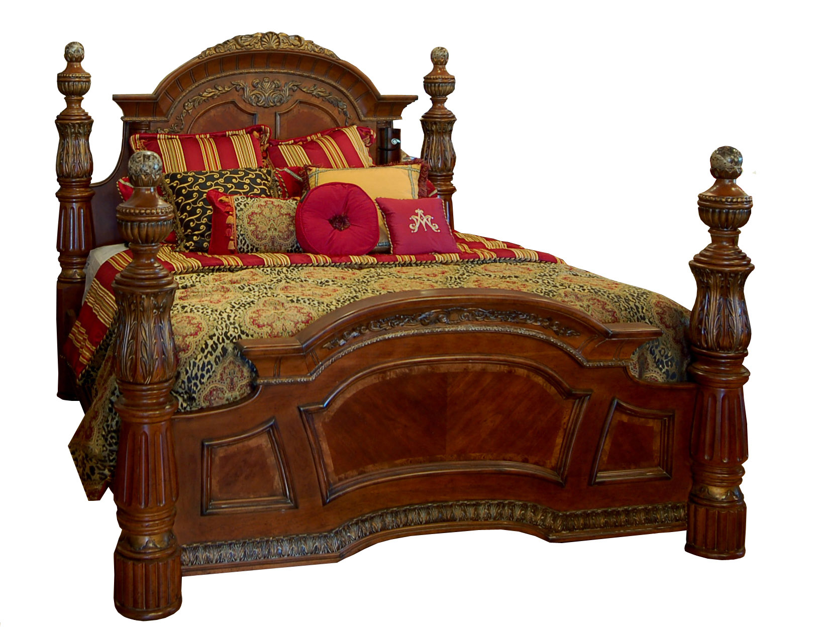 grand heavy king size poster bed with marble inlays and