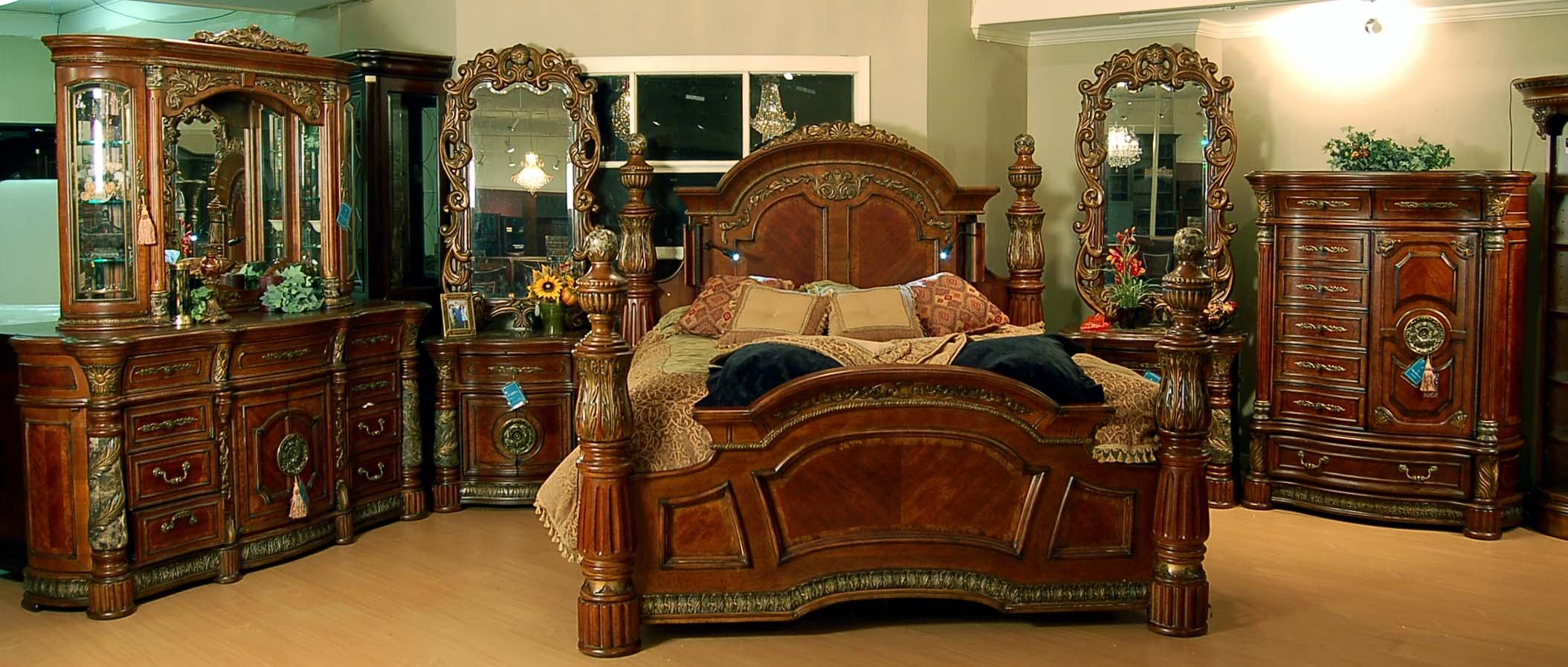 details about classic romantic old world spanish chestnut bedroom set