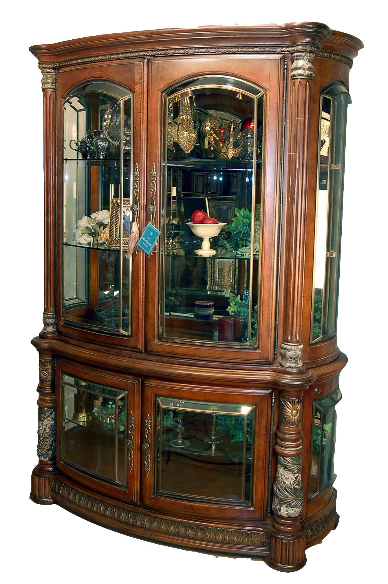 Cherry finish glass china display cabinet buffet hutch ebay for Dining room glass cabinet