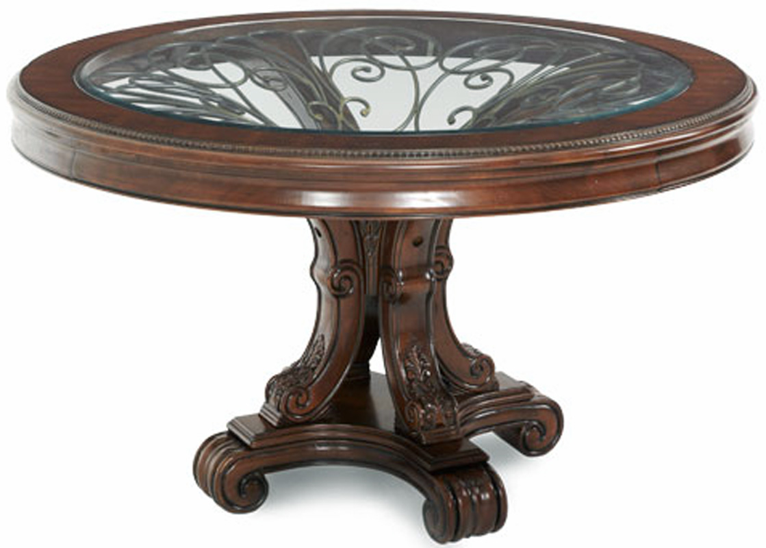 Large Foyer Table Round : Unique piece rich cherry and iron round dining table set