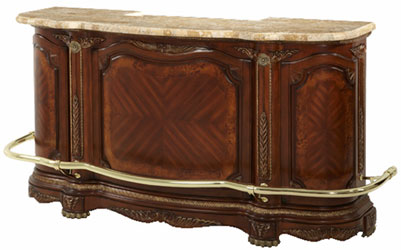 "86"" Honey Walnut Marble Top Bar"