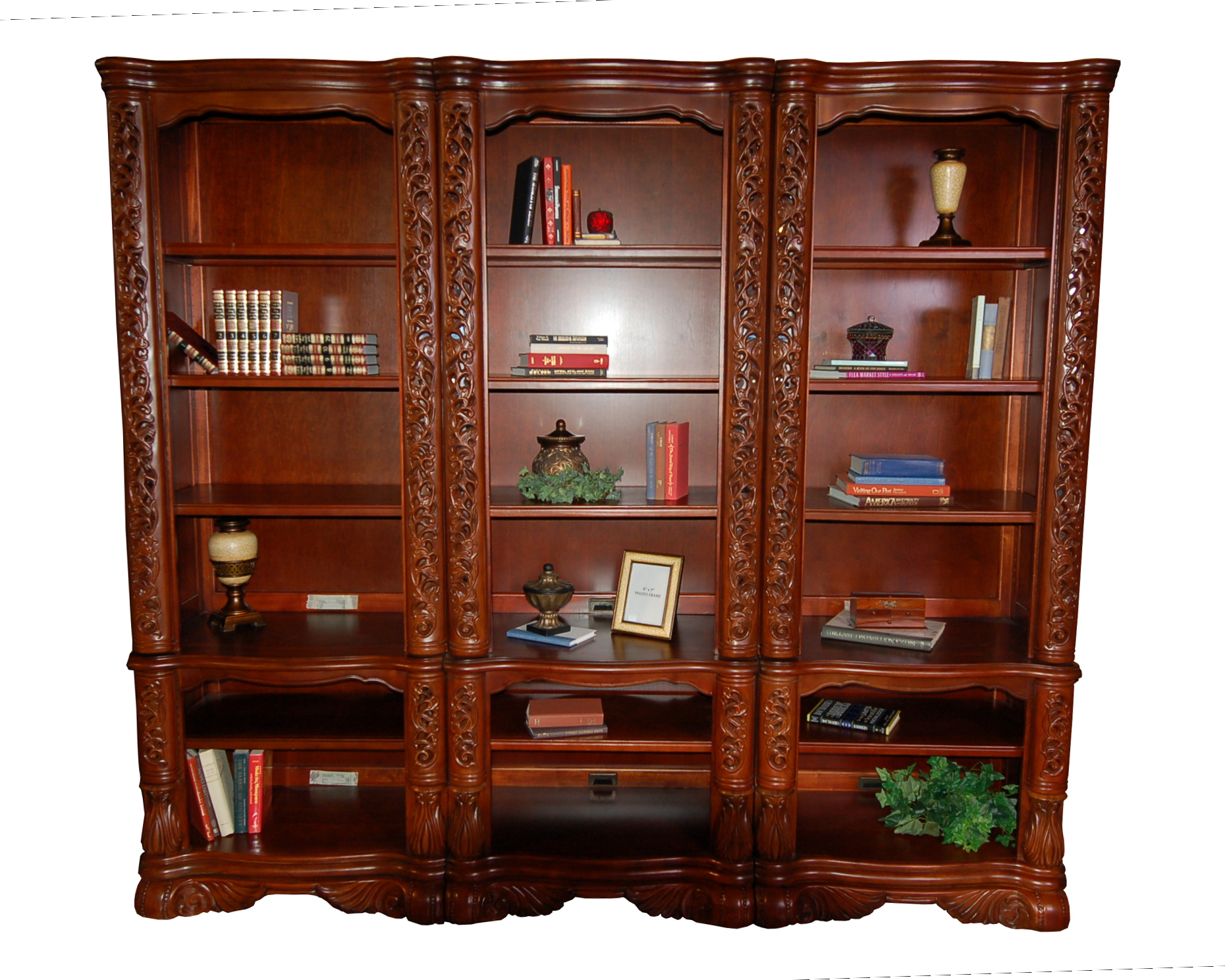 details about ornate 3pc office bookcase wall