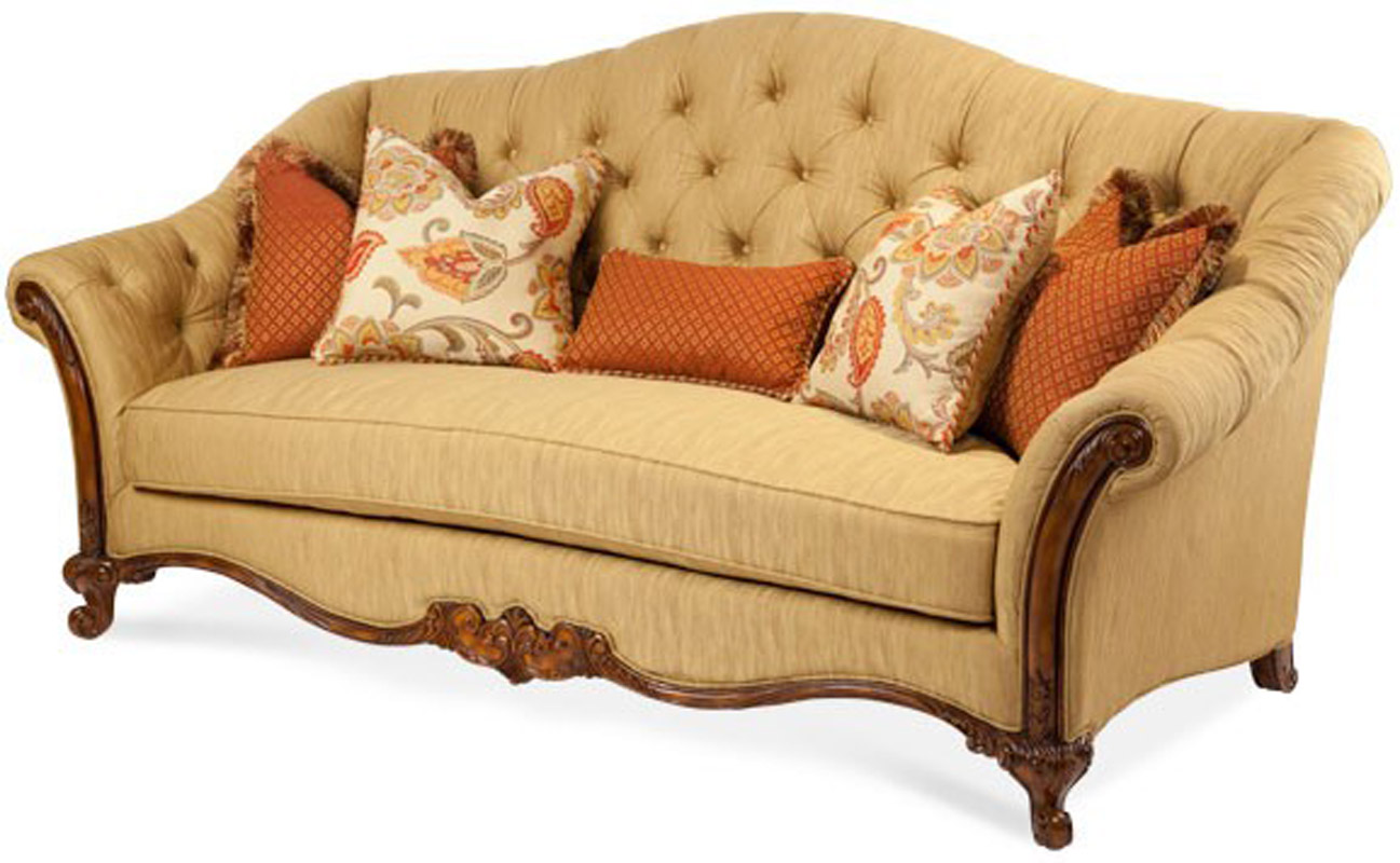 Elegant Wood Trim Upholstered Tufted Sofa | eBay