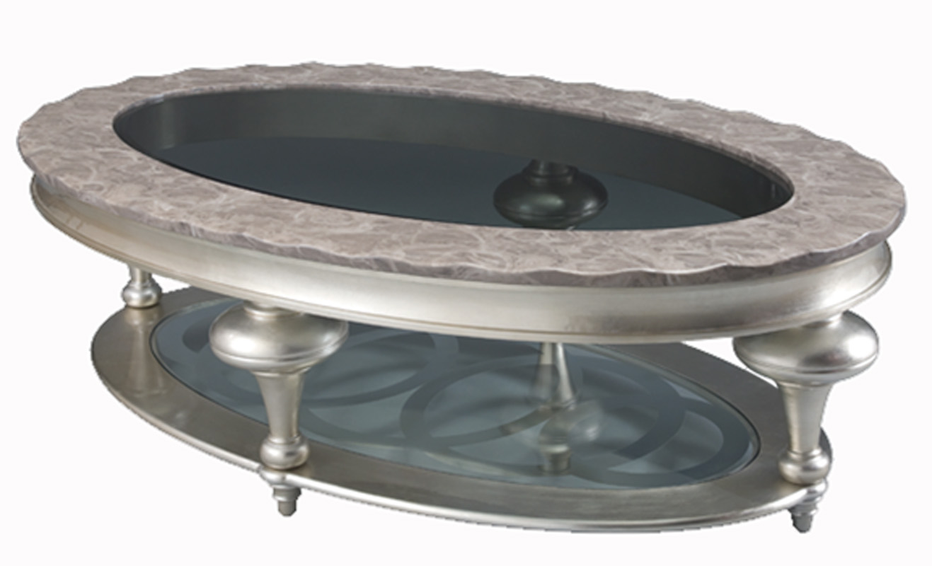 Glamorous Platinum Finish Marble Top Oval Coffee Table EBay