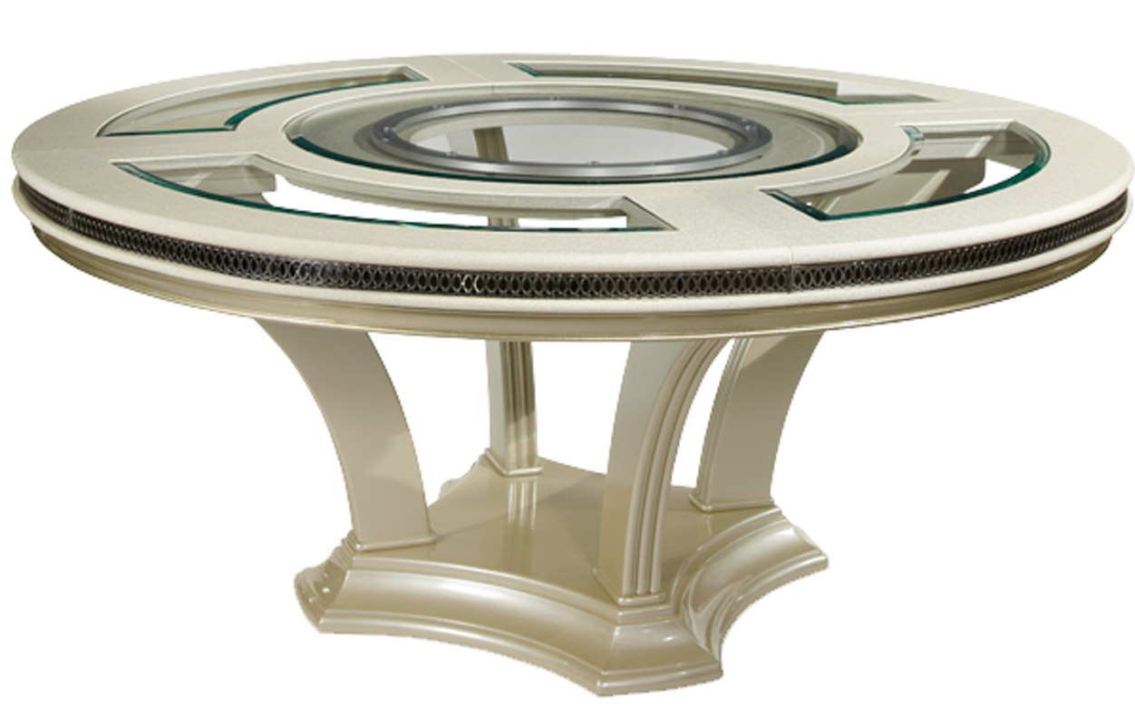 Details About 72 Modern Pearl Round Glass Dining Table