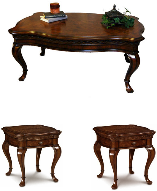 Traditional Hickory Three Piece Living Room Occasional Coffee And End Table S