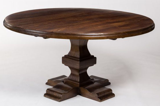 84 inch large round solid hardwood dining table with rich chestnut finish ebay. Black Bedroom Furniture Sets. Home Design Ideas