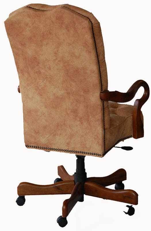 details about distressed pecan walnut executive office desk chair