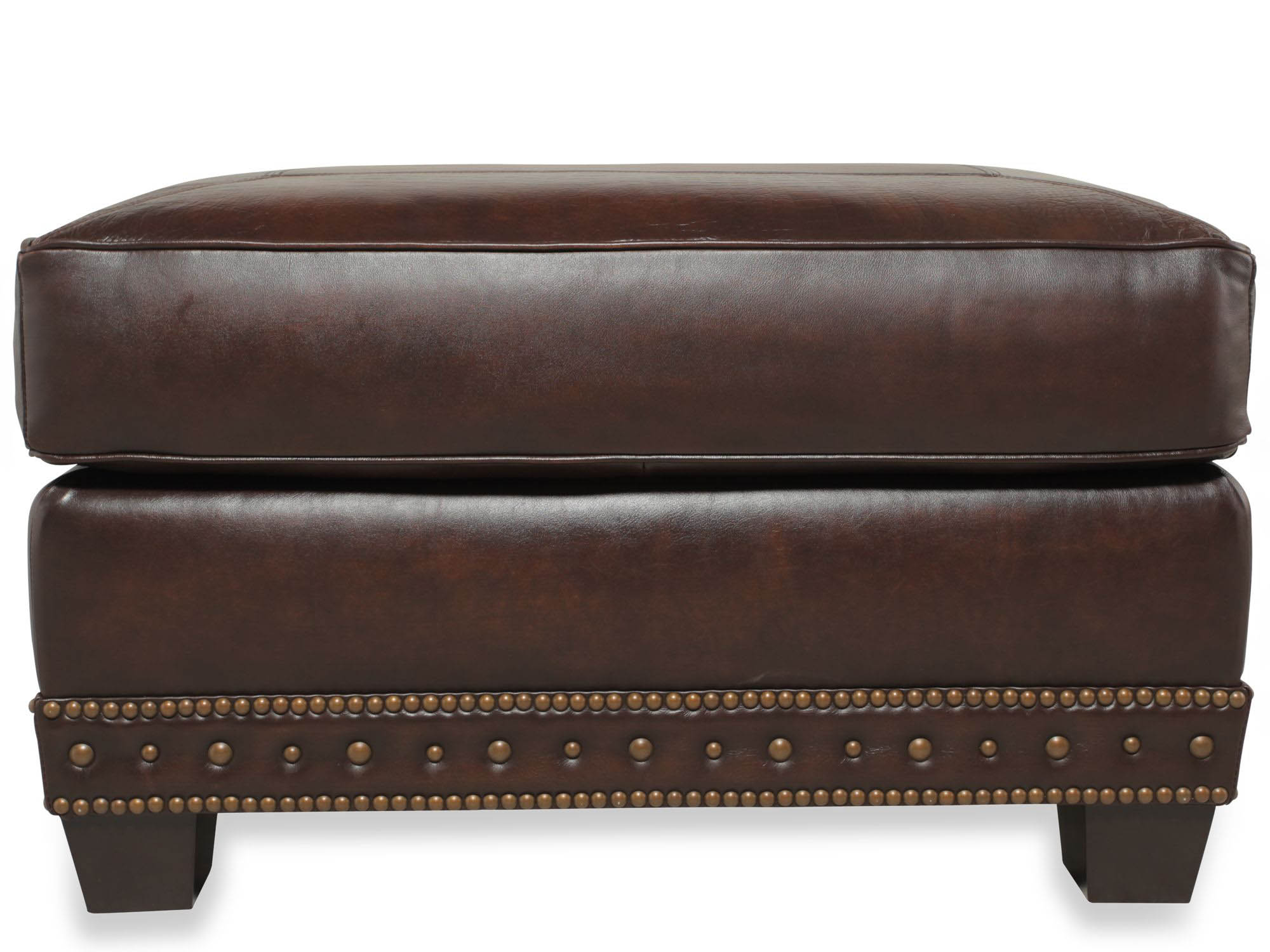 Traditional Genuine Top Grain Brown Leather Ottoman Ebay