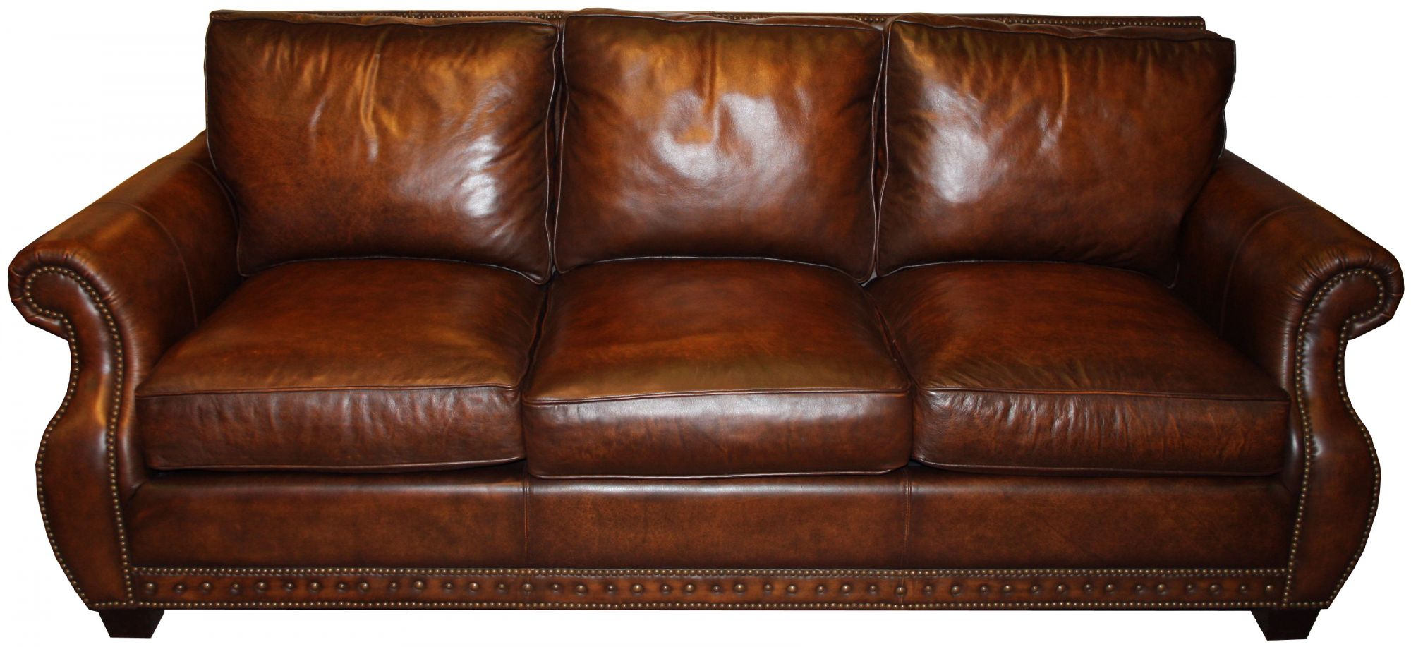 Traditional genuine top grain brown leather sofa ebay for Traditional leather sectional sofa