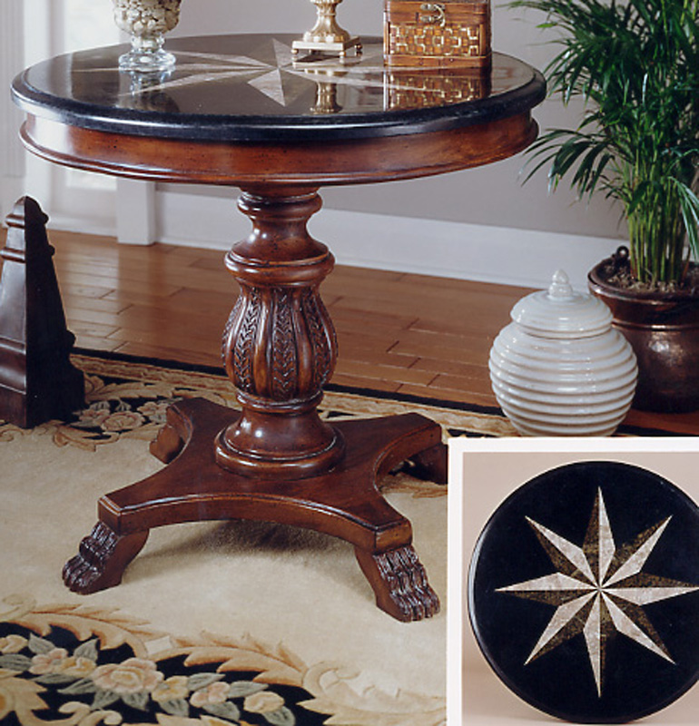 Foyer Table With Granite Top : Cherry stone top round accent hall table ebay