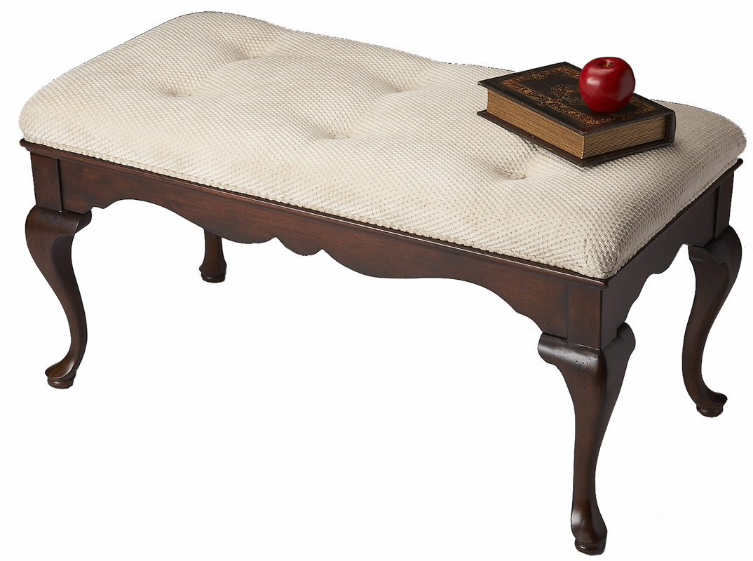 Queen Anne Plantation Cherry Upholstered Accent Bench Ebay