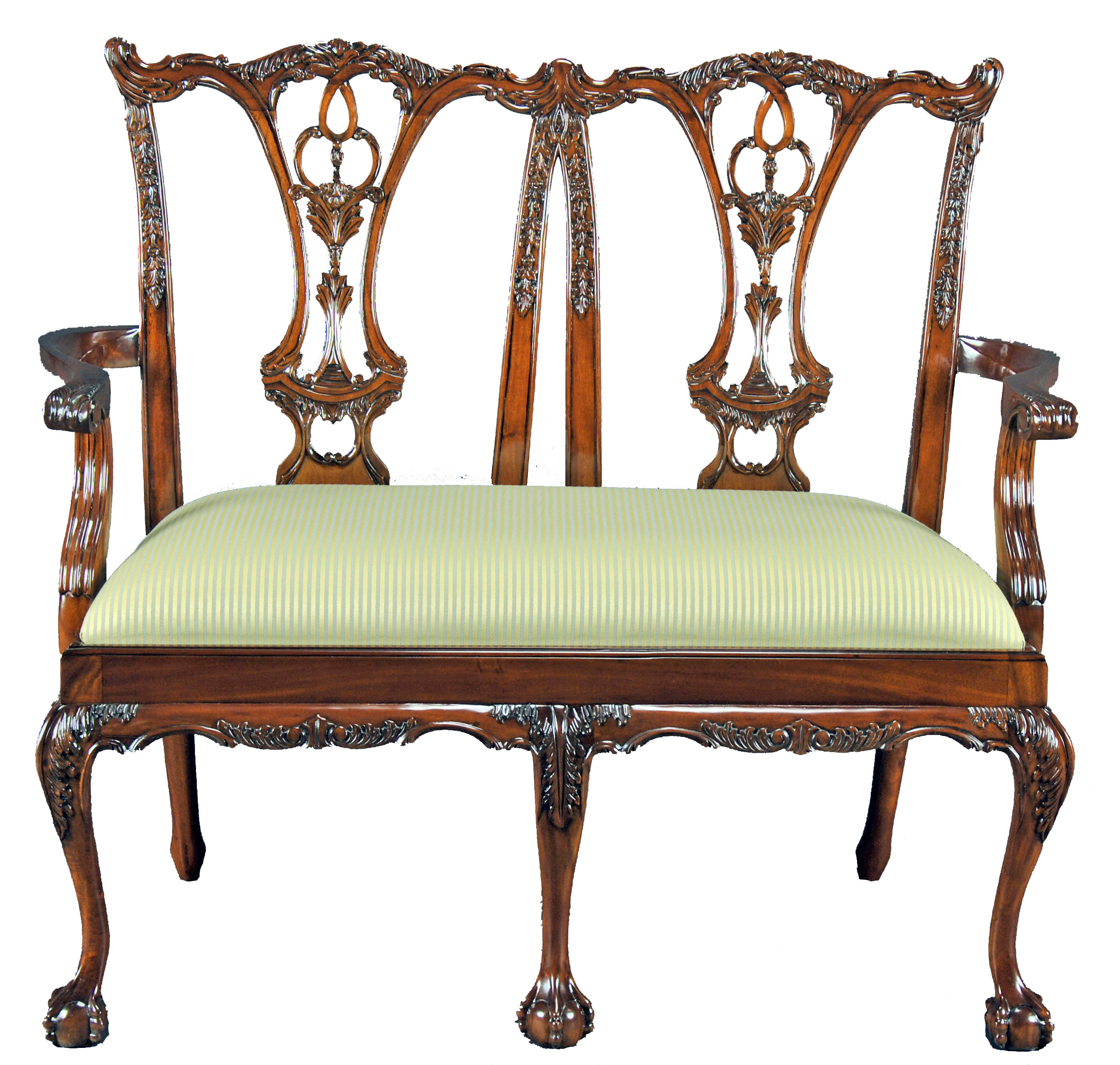 Hand Carved Mahogany Chippendale Bench Settee With Ball In Claw Feet 2 Seater Ebay