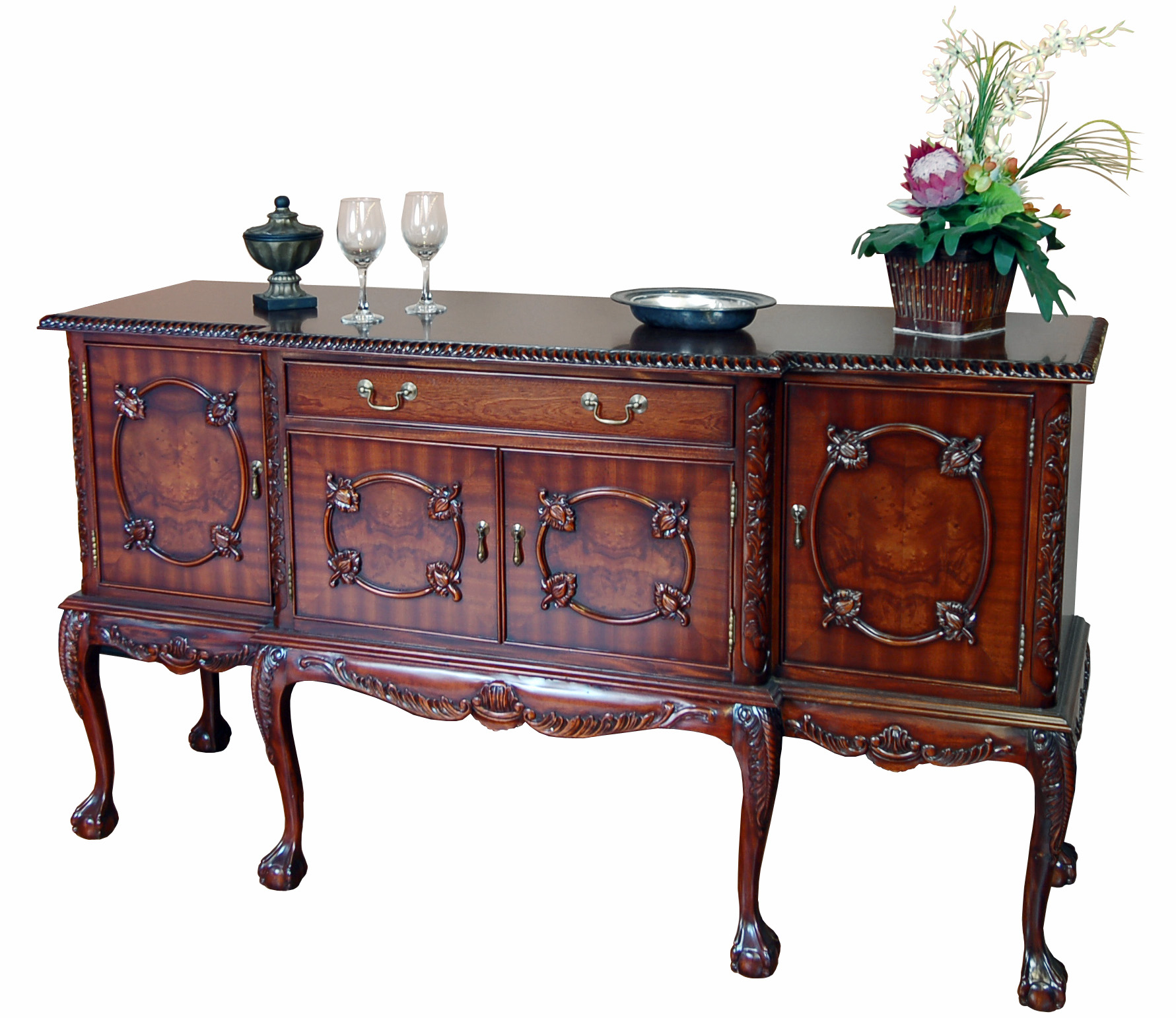 chippendale mahogany high leg sideboard buffet server ebay. Black Bedroom Furniture Sets. Home Design Ideas