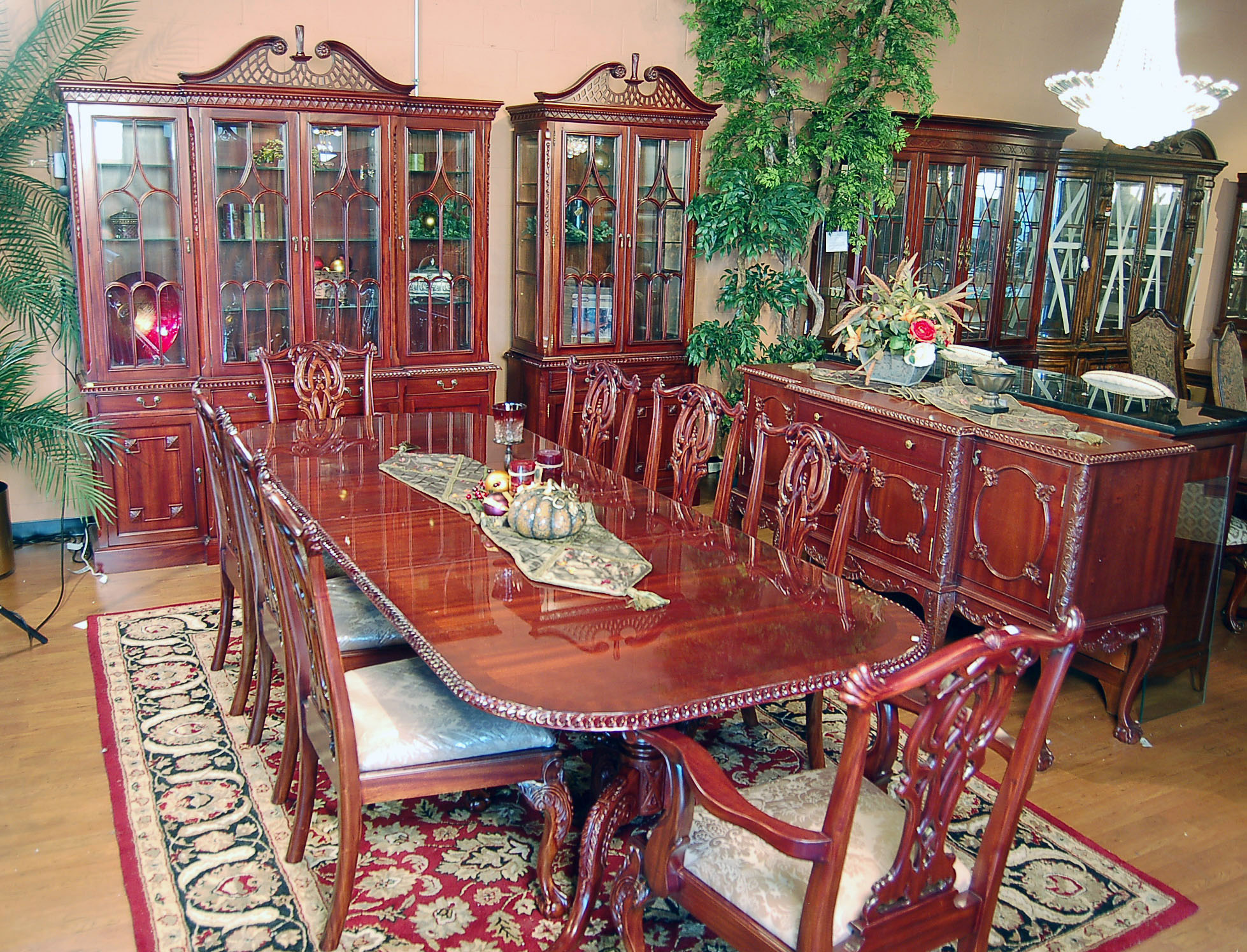 11pc mahogany dining room set chippendale china buffet ebay for Dining room table and buffet sets