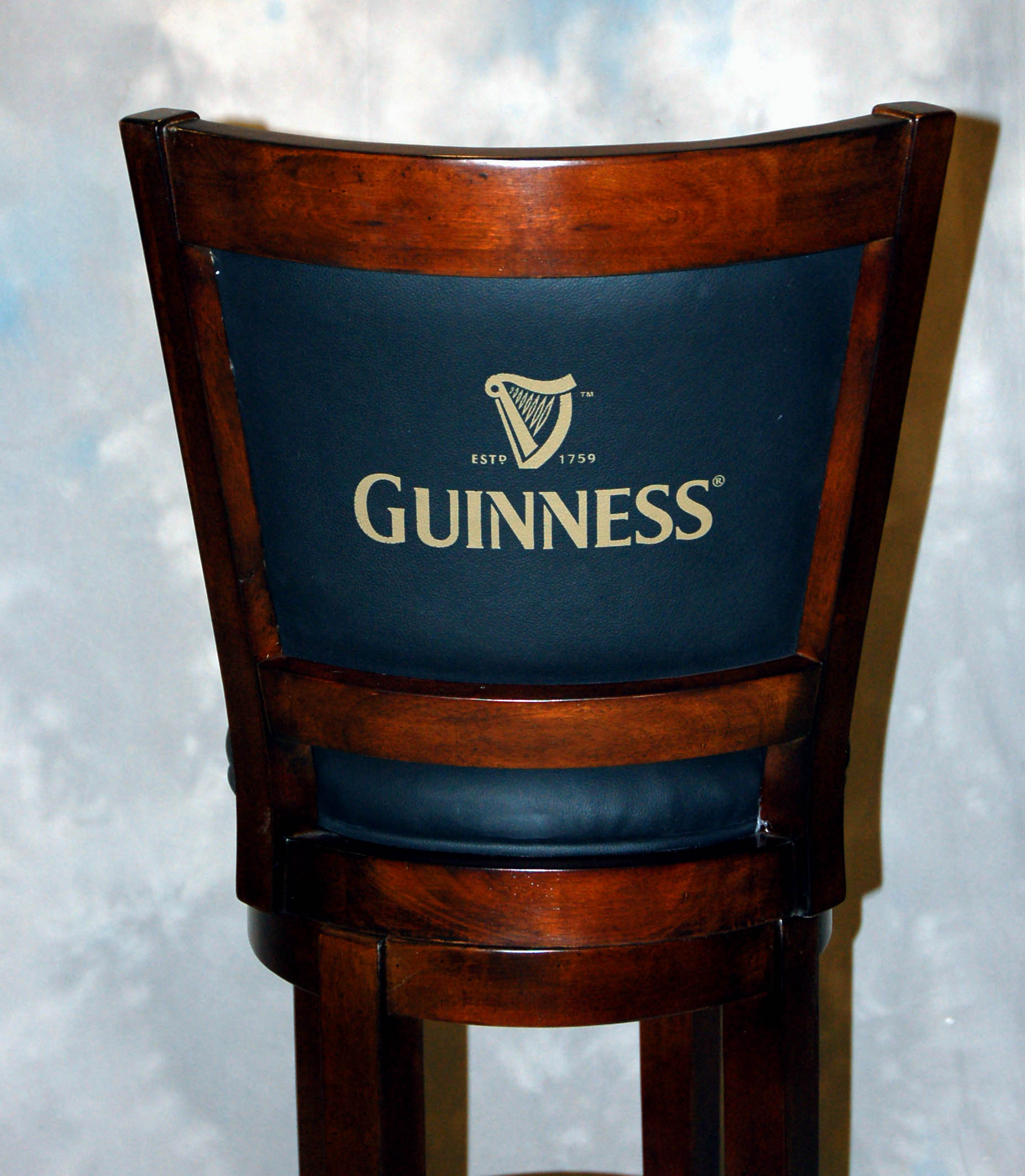 Details about black leather guinness walnut swivel bar stool