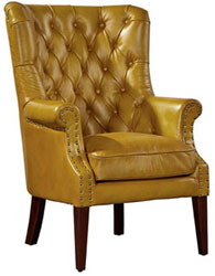 Hudson Mustard Leather Wing Chair