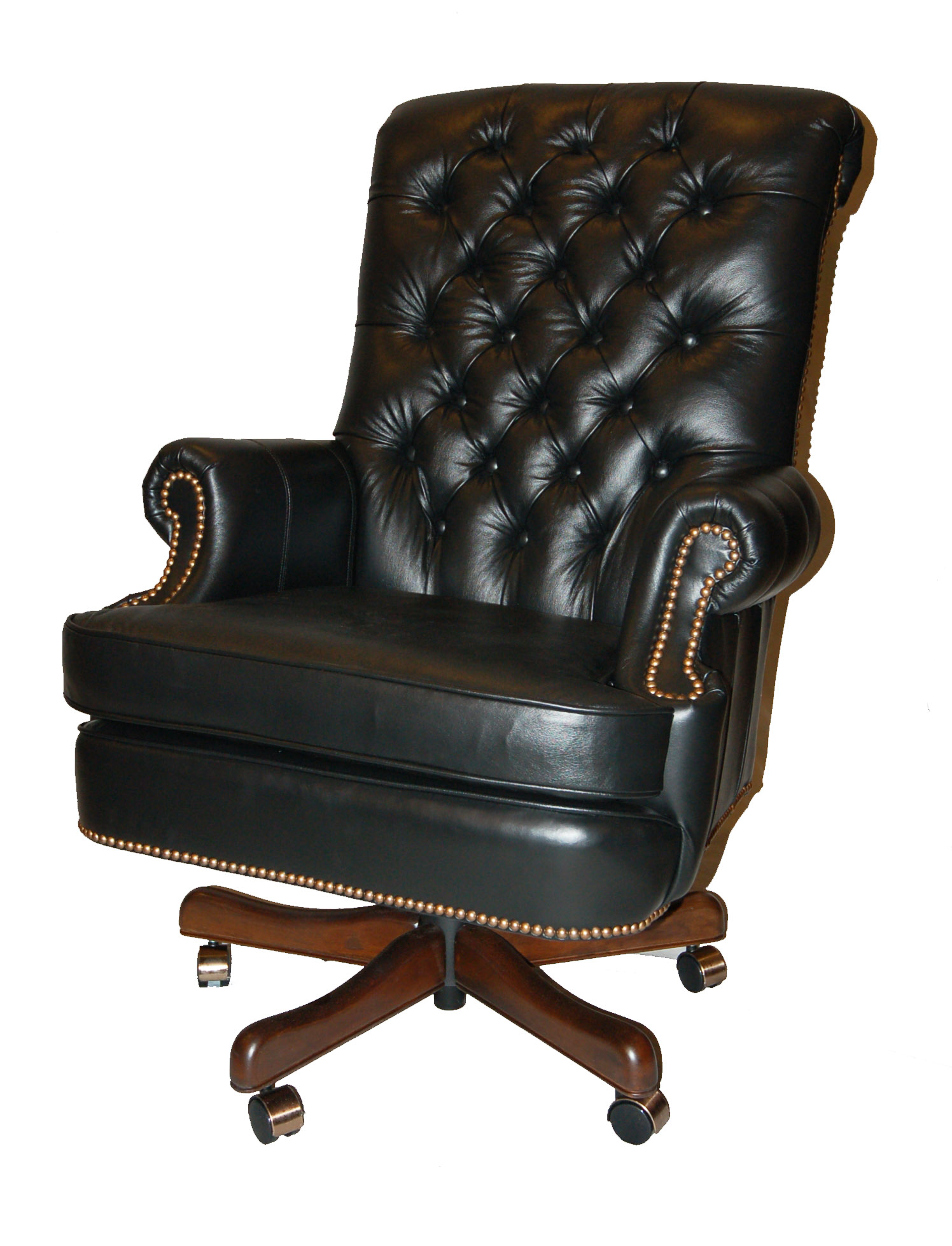Fairfield Large Black Leather Executive Desk Chair With