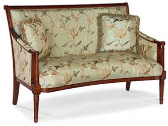 Wood Trim Pearl Green Upholstered Sette