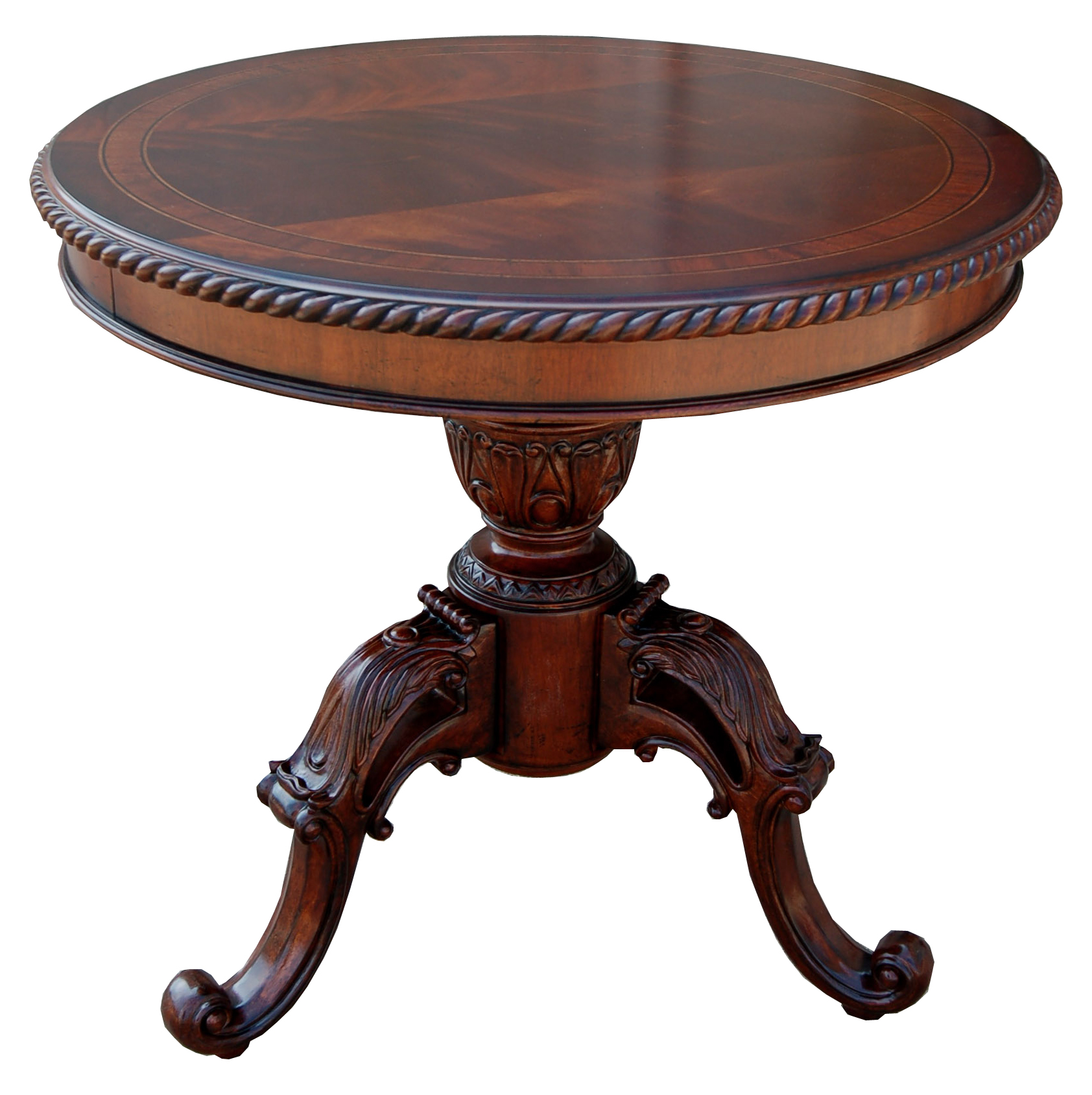 Traditional ornate mahogany round accent end table