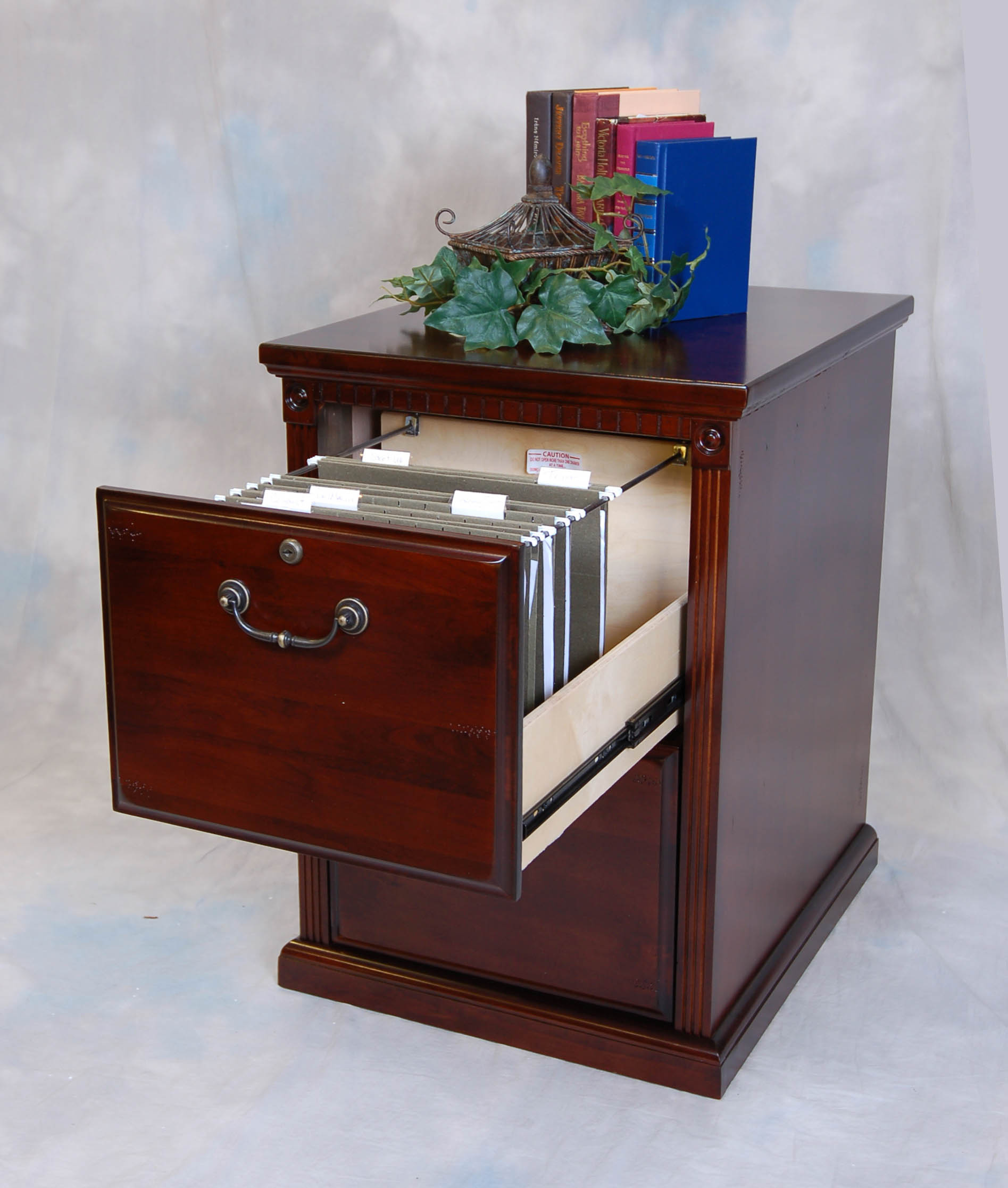 Cherry 2 Drawer Locking Office File Cabinet Wood