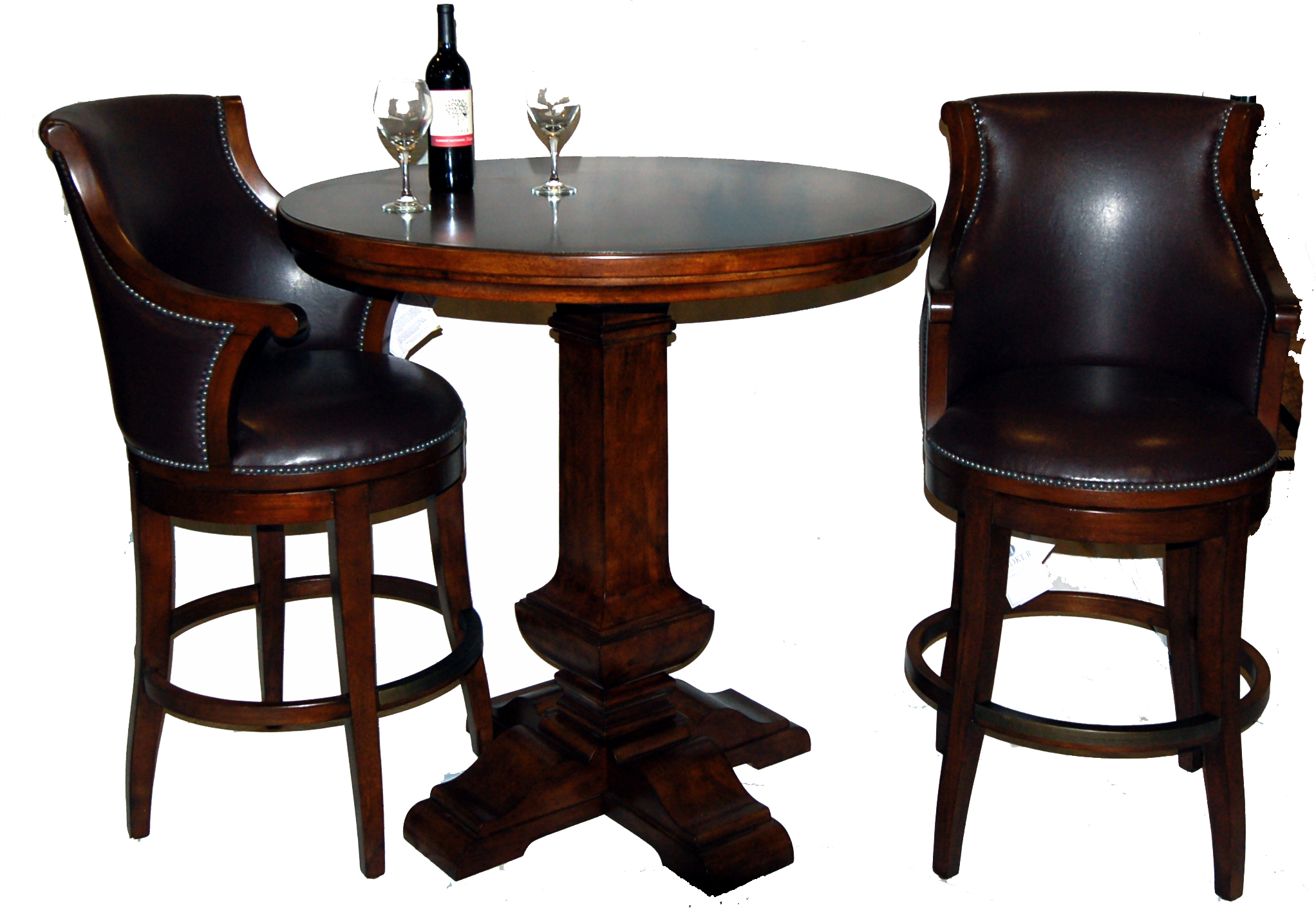 3 piece bar table and leather swivel stool set ebay for Bar stool table