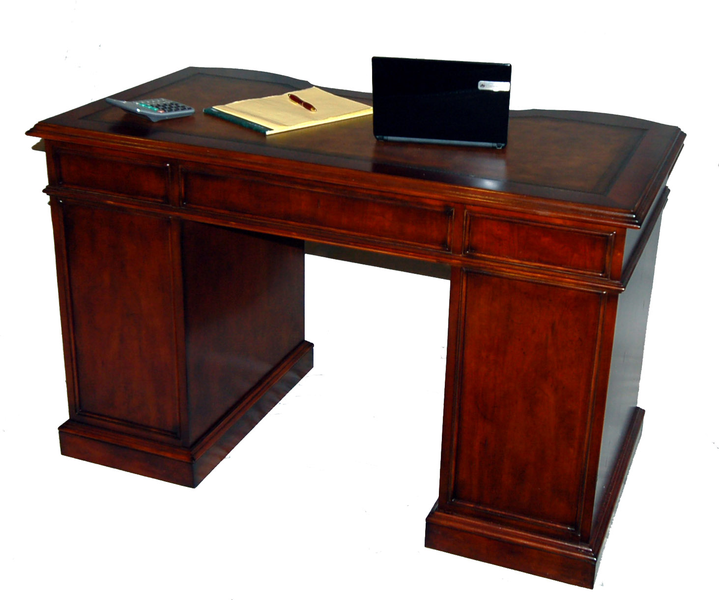 small cherry kneehole desk with file storage leather top and keyboard drawer ebay. Black Bedroom Furniture Sets. Home Design Ideas