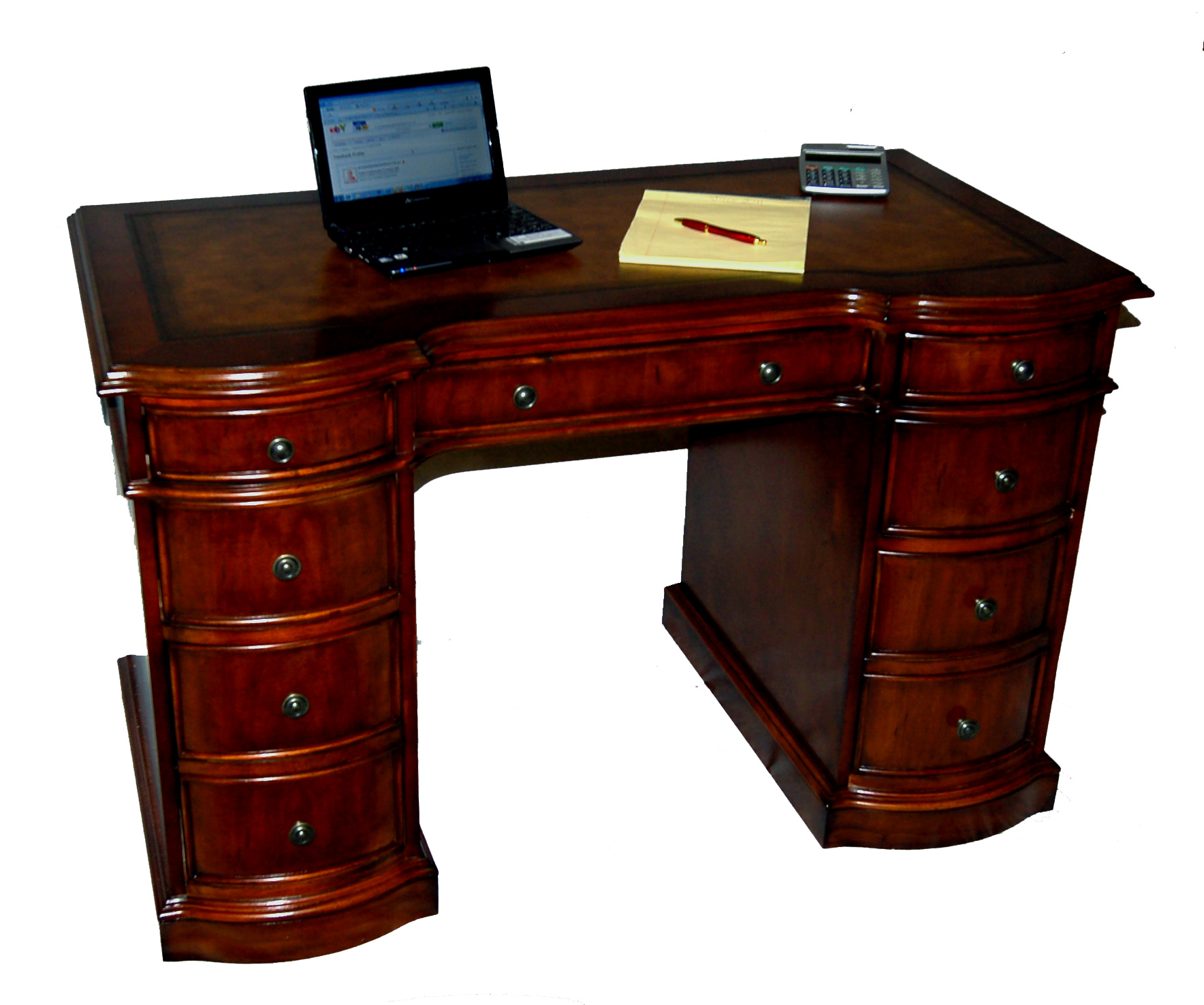 details about small cherry kneehole office desk leather top