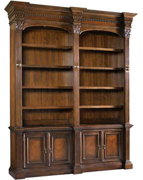 Mahogany and More Bookcases - Large Old World Library Walnut Bookcase