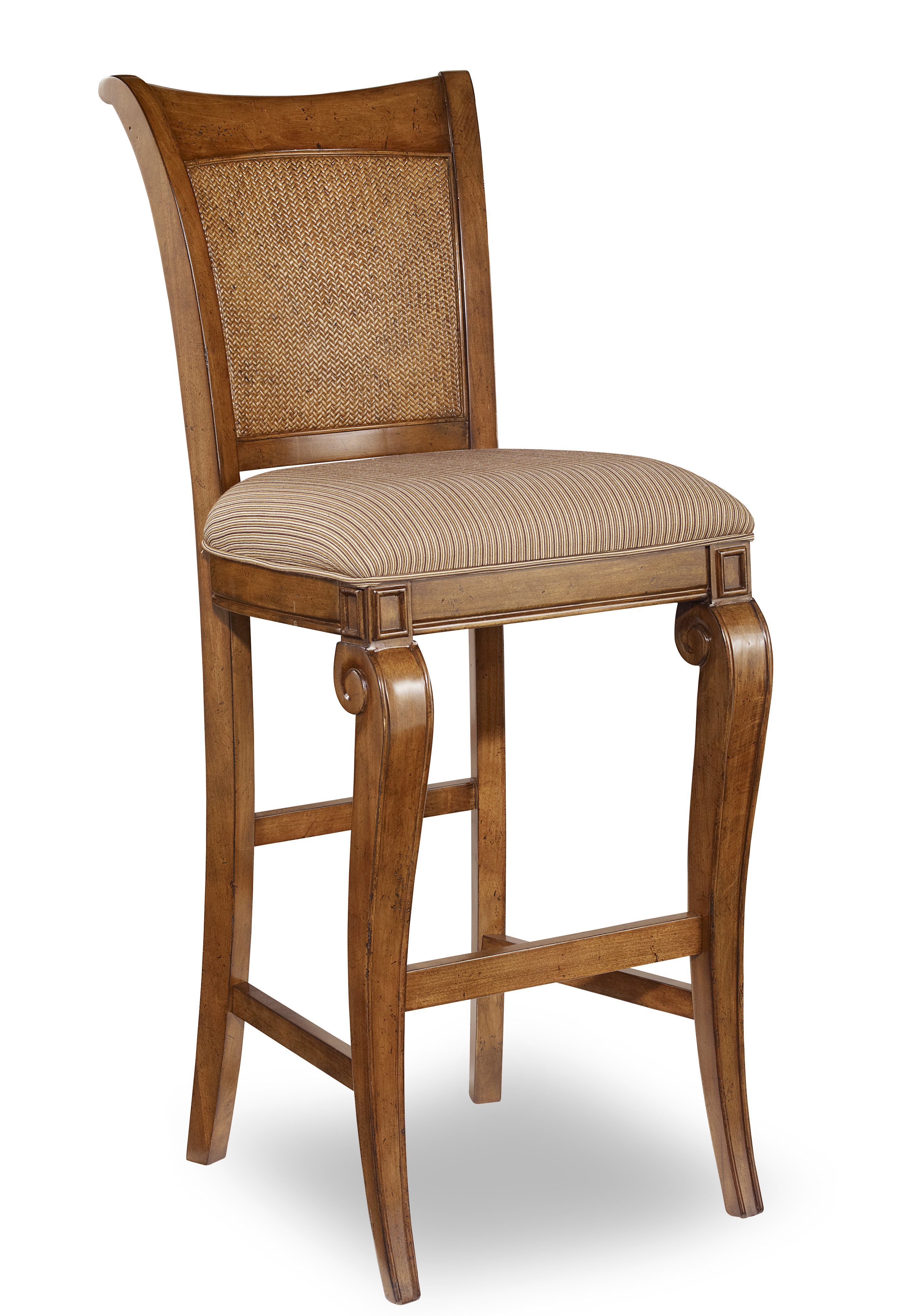 Cherry And Raffia Accent Fabric Upholstered Bar Stool Ebay
