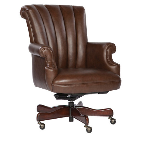 Coffee Ribbed Leather Executive Office Desk Chair EBay