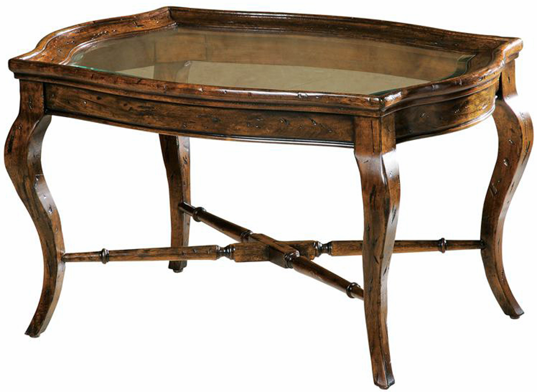 Bordeaux rustic oval cognac glass top coffee table Coffee tables rustic