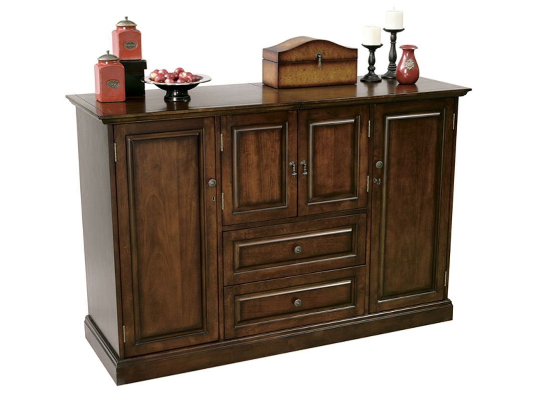 American Cherry Wine Bar Storage Cabinet