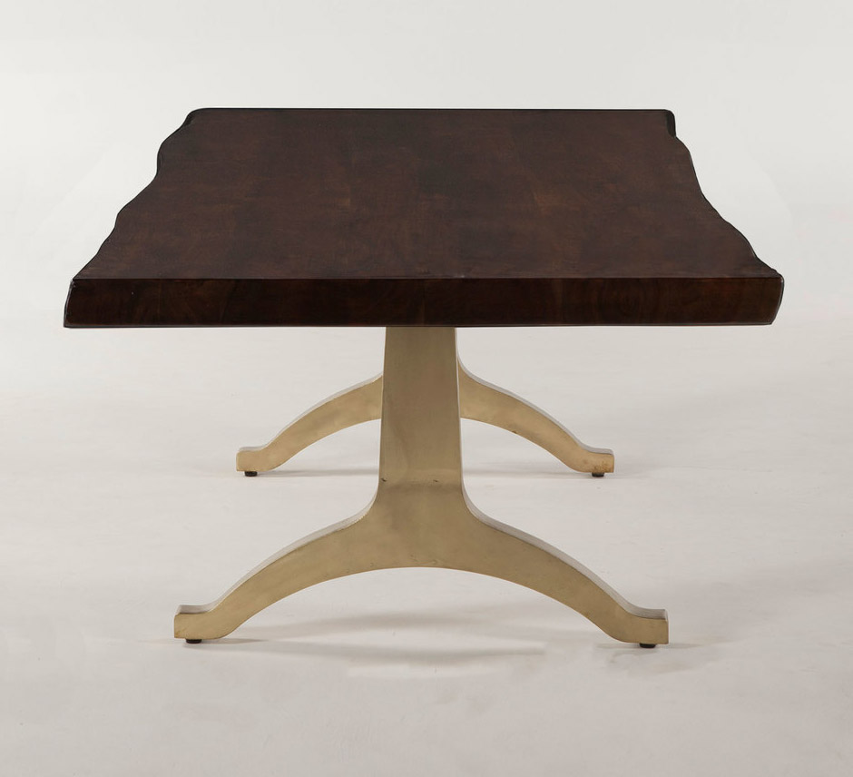 Live Edge Coffee Table Base: Live Edge Solid Wood Top & Brass Base Coffee Table In Hand