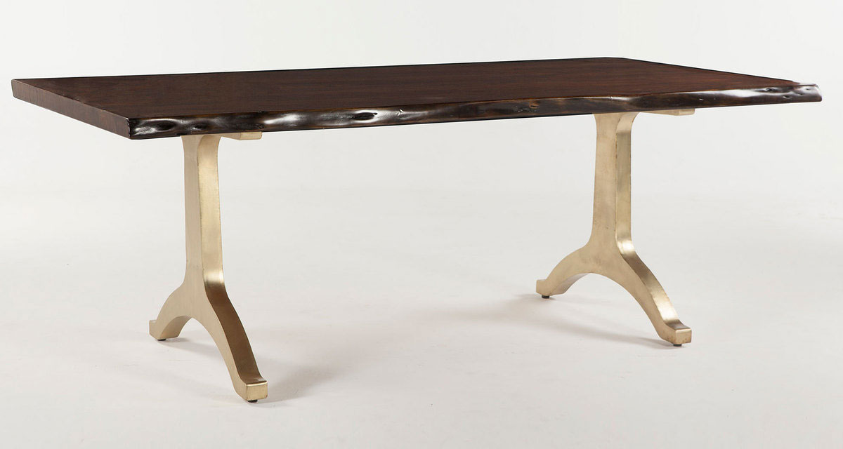 Live Edge Solid Wood Top amp Brass Base Dining Table In Hand  : fullview1exp from www.ebay.com size 1200 x 640 jpeg 49kB