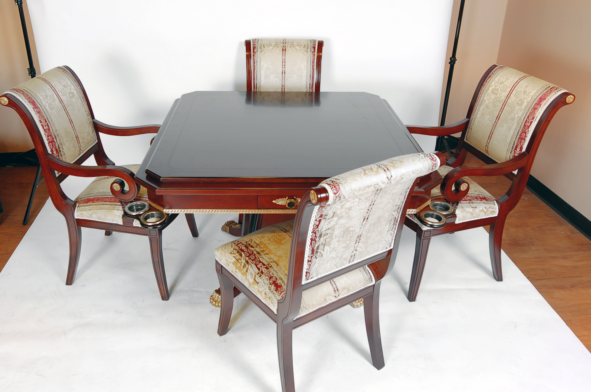 Rosewood Game Table and Four Chairs Set | eBay