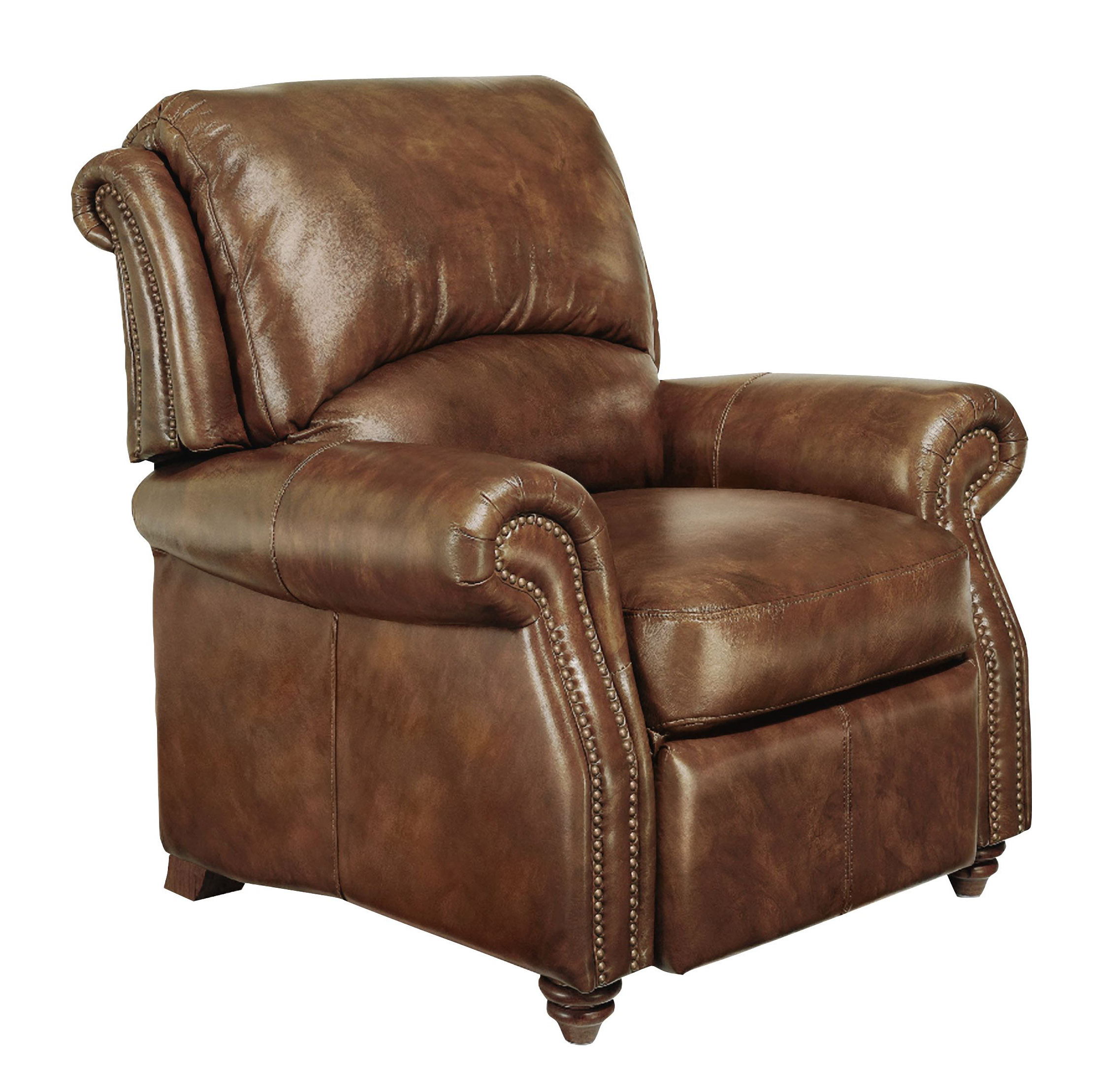 Traditional Genuine Top Grain Brown Leather Reclining Club