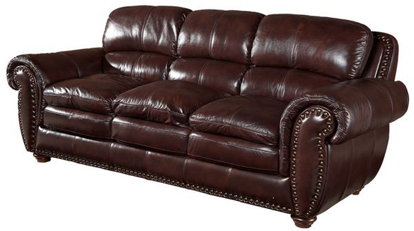 Brown Top Grain Leather Sofa With Extra Cushioning Ebay