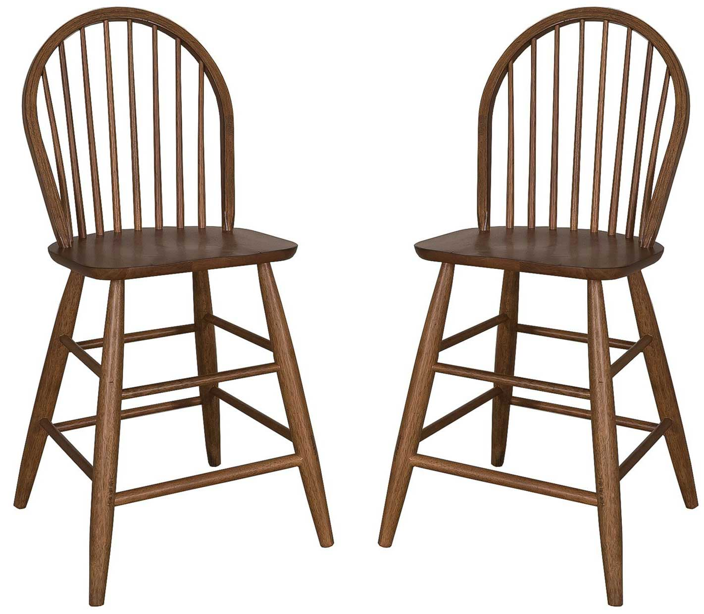 Pair of oak cabin fever windsor back counter height pub chairs stools - Windsor back counter stools ...