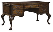 Laredo Brunished Brown Ball & Claw Writing Desk