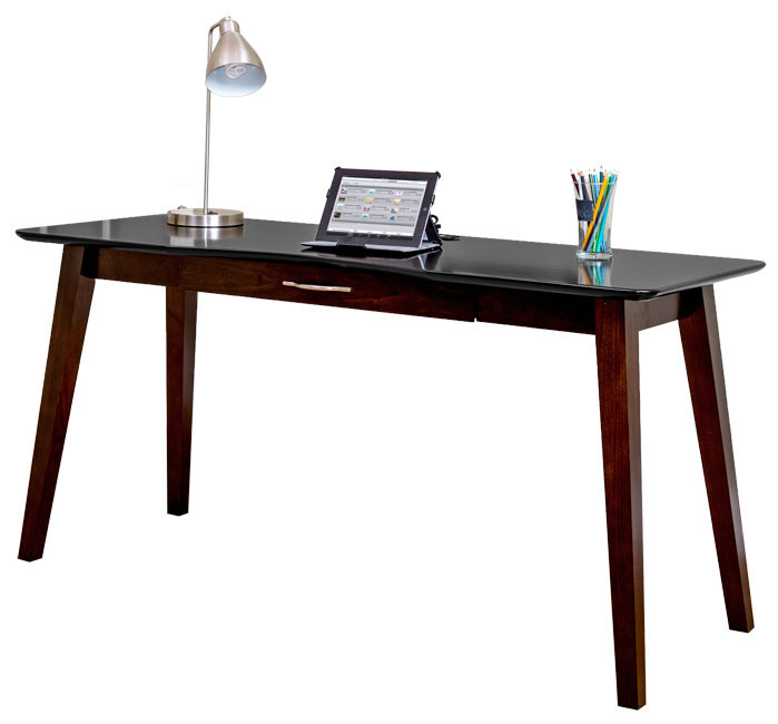 Black Top On Cherry Contemporary Writing Table With Built