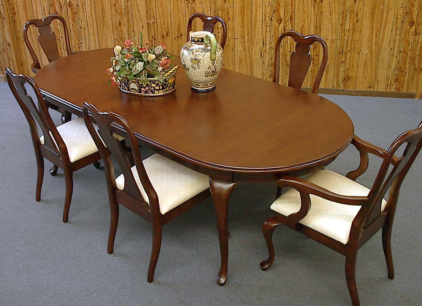 7 Piece 8ft Queen Anne Mahogany Dining Table And Chair Set EBay