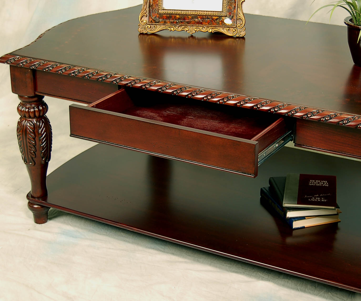 Mahogany Coffee Table: Brown Carved Mahogany Coffee Table And 2 End Table Set
