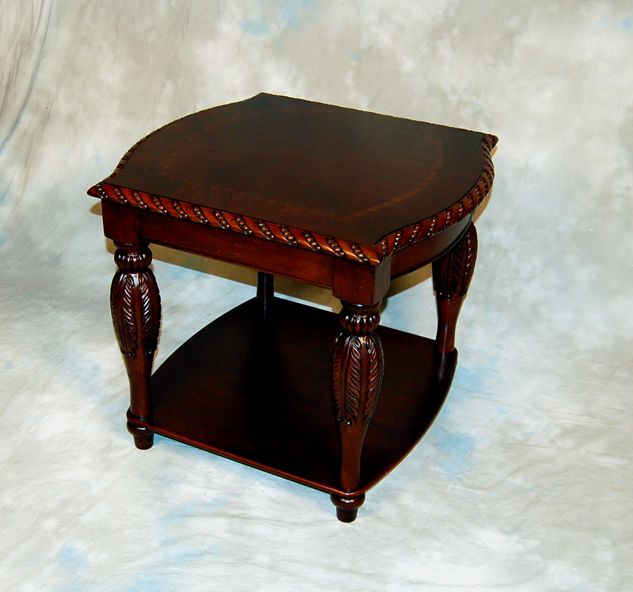 Brown Carved Mahogany Coffee Table And 2 End Table Set