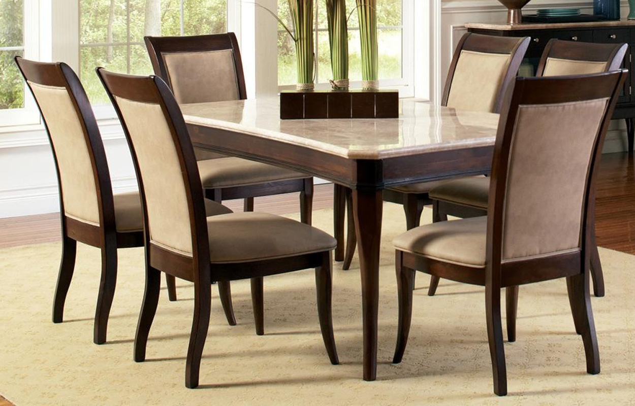 Contemporary marble top 8 piece dining table and chair set for Best dining table set