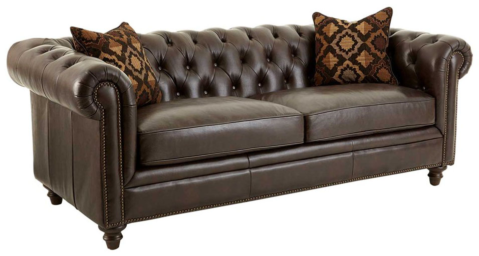 Brown Leather Chesterfield Sofa Ebay