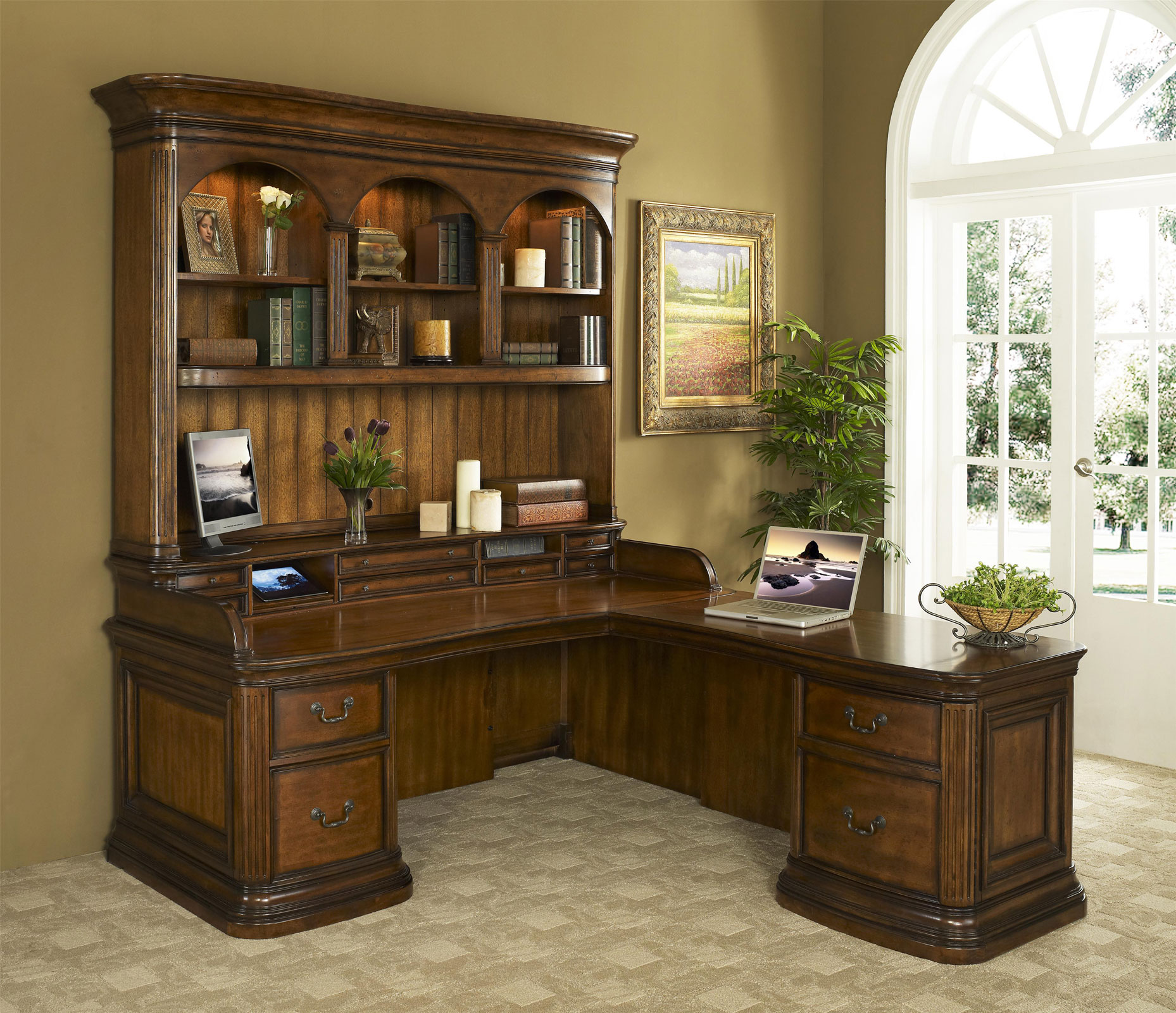 Devonshire Walnut L Shaped fice Desk with Hutch