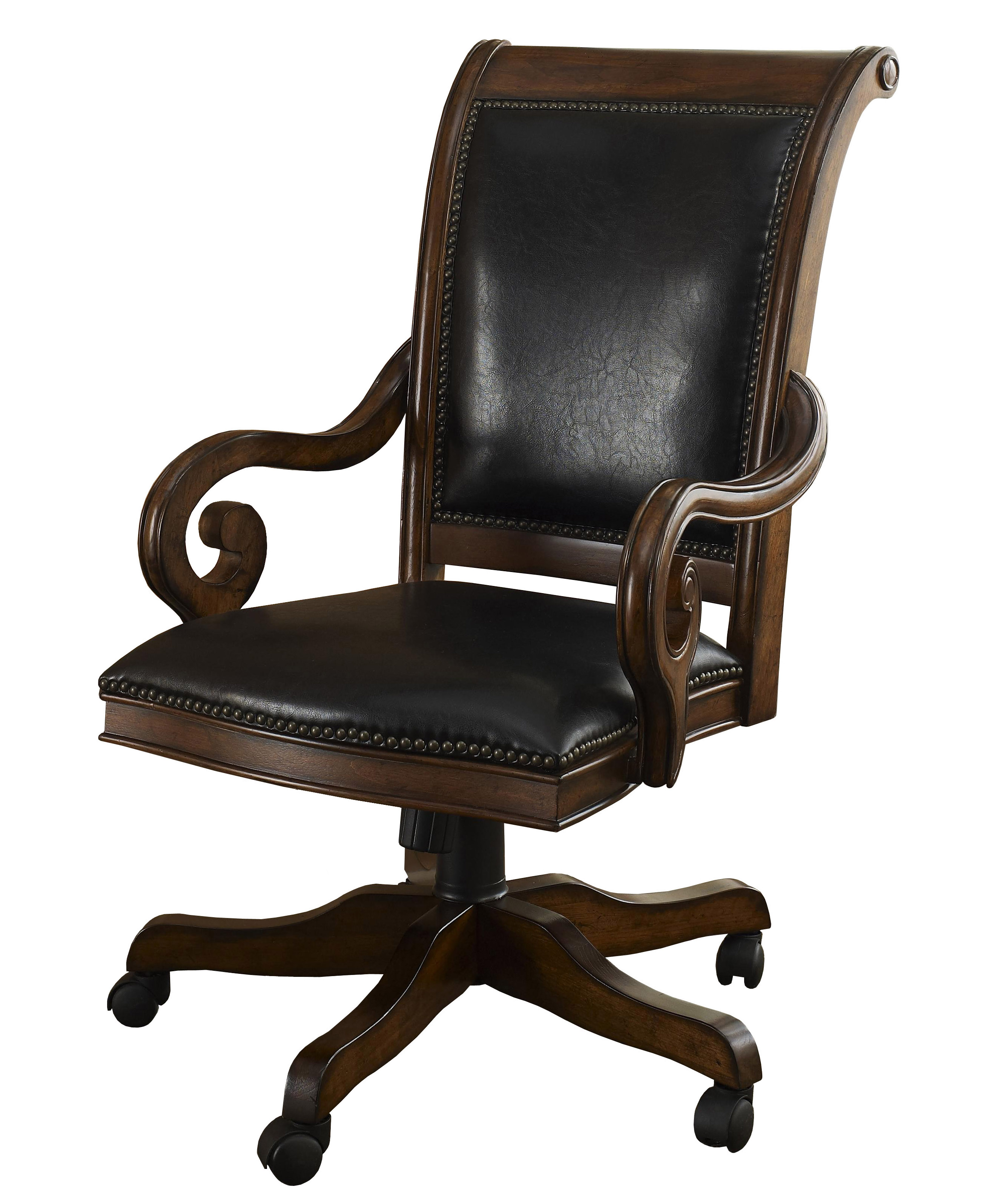 details about devonshire walnut leather office desk chair